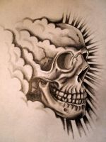 happy skull tattoo design by danleicester