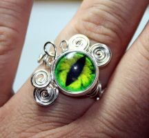 Adjustable Evil Green Glass Dragon Eye Ring by Create-A-Pendant