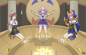 Commission #10: Neptune, Caster + Rorolina tickled by tk0-Art