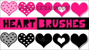 5 Heart shaped brushes by x-BlackRainbow