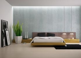 Modern-bedroom-with-plants by I-Paradox