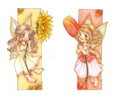 Sunflower and Tulip-bookmarks by ann-chan20