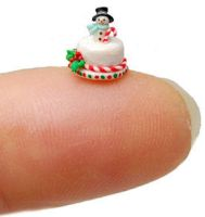 TRADITIONAL SNOWMAN BERRY CANDY CAKE by WEE-OOAK-MINIATURES