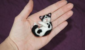 Miniature Needle Felted Tuxedo Kitty by amber-rose-creations
