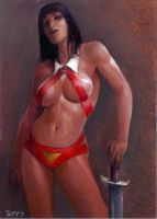 vampirella sketch card ap5 by charles-hall