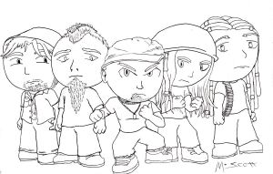 Rock and Metal Chibis: Five Finger Death Punch by HypoThermus