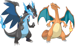 Charizard And Mega Charizard X by Frie-Ice