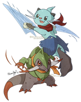 PMD - Fraxure and Dewott by ManiacalMew
