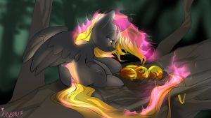 Skyblazer caring for Pheonix Eggs by Noben