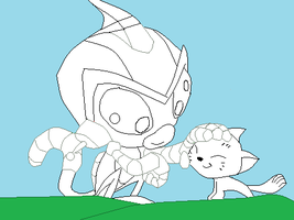 Robot Monkey with kitty base by Fangirl-of-Doom2