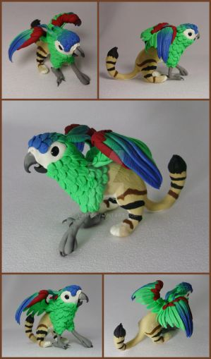 FOR SALE ~ Sand-Macaw Gryphon Sculpture by LiHy