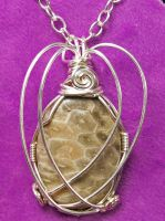 Fossil Coral and Silver Wire Pendant by HeatherJordanJewelry