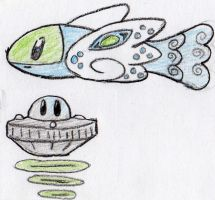 Peacock fish and a UFO by Echorus