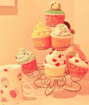Cupcakes and friends by fiegga