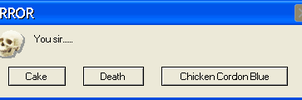 Cake or death error button by Winged--Maned--Wolf