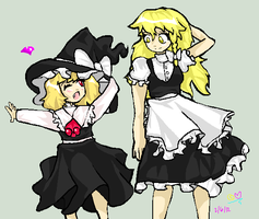 R: Rumia and Marisa by Artizluv