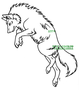 Leaping Wolf Lineart by WildSpiritWolf