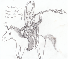 Loki on a unicorn by five-tailes