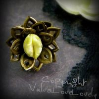 The Lotus Ring: Yellow Yonic Vagina Art Ring by VulvaLoveLovely