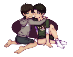 Eren and Levi by Nude-Mochi