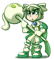 Lil' green magical girl cat by Kas-the-Cat