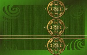 Gold Medallions on Green by kabegami