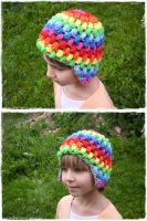 Crochet puff hat - rainbow by Esarina