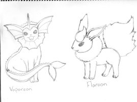 Flareon and Vaporeon by Gypsy-puma