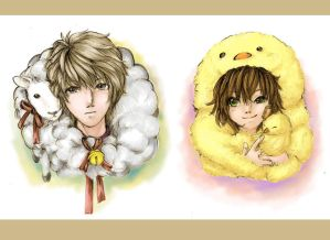 MoE: a sheep and a little chicken colored by Syndicth