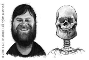 Caricature with skull 2 by CarlosRubio