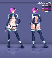 Aclon character sheet (clothed) by Pablocomics