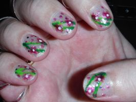 Pink flower nails by Amazinadrielle