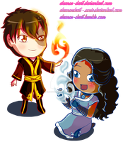 Chibi Easter Zutara by Eleanor-Devil