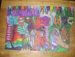 Beetle Juice Colorful Design Drawing by NWeezyBlueStars23