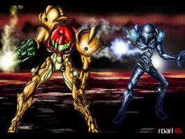 Samus Vs Dark Samus by Robin-Mendoza