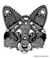 Fox Queen -Zentangle Fox - Black and White Version by Janelle-Dimmett
