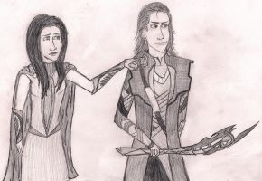 Athena and Loki by Holleester