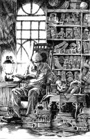 old man and library by Dedyk