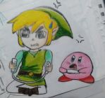 Kirby VS Toon Link by Chanela-chanelita