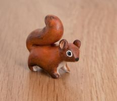 American red squirrel animal totem, polymer clay by lifedancecreations