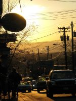 mainstreet, NewPaltz at sunset by cantthinkof-aname