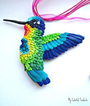 Fire Throated Hummingbird Inspired Necklace by TeaZeInYa1287