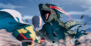 Saitama vs Devil Raptor by fradarlin