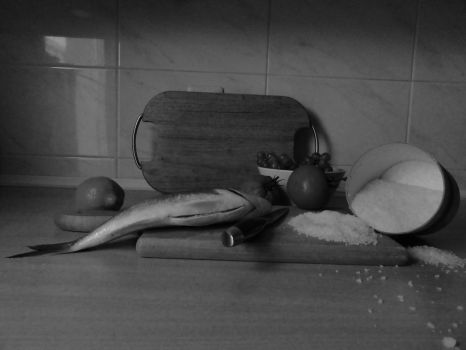 Still life with fish III - Black And White by Classist
