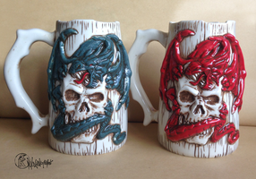 Dragon and Skull Beer Mug by kachaktano