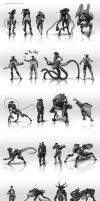 character concept thumbnails by JSA-Arts