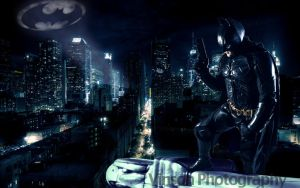 Batman above Gotham City by Sid-itego