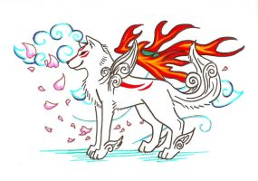 Amaterasu in Marker by grouchywolfpup