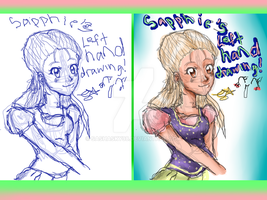SAPPHIE'S LEFT HAND DRAWING! by Sashasky98