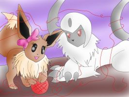 Absol and Eevee by Marthnely-chan
